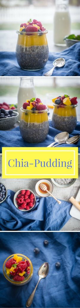 Für einen perfekten Start in den Tag habe ich hier ein tolles Rezept für einen Chia-Pudding mit Mango und Beeren