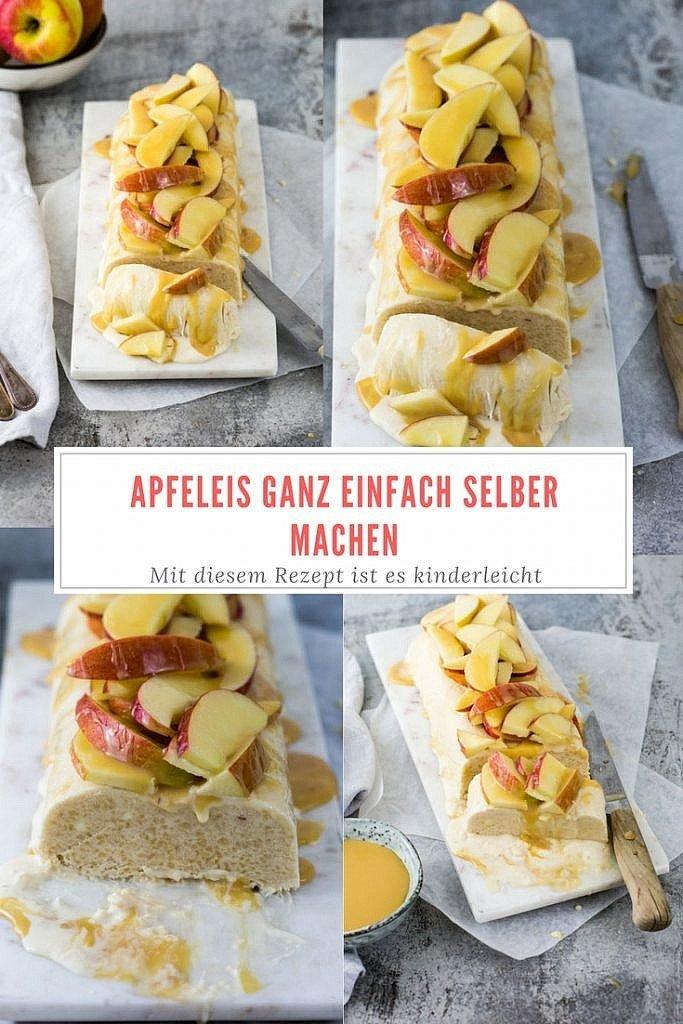 leckeres Apfeleis mit Karamellsauce einfach selber machen. Für dieses Rezept braucht ihr keine Eismaschine