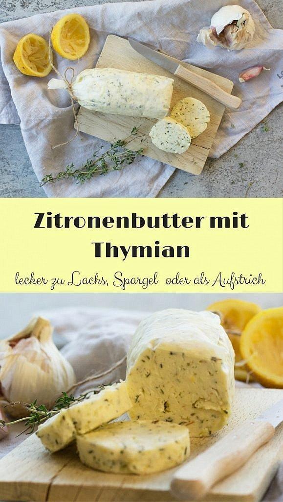schnell gemachte Zitronenbutter mit Thymian und Knoblauch. Passt perfekt zu Spargel oder fisch. Aber auch als Brotaufstrich ist sie sehr lecker.