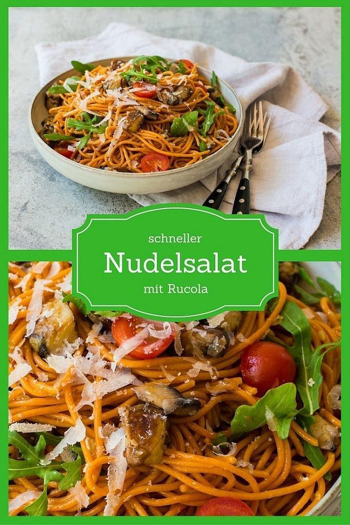 Rezept für einen schnellen und einfachen Nudelsalat mit Rucola
