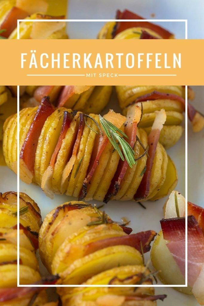 Rezept für leckere Fächerkartoffeln mit Rosmarin und Speck