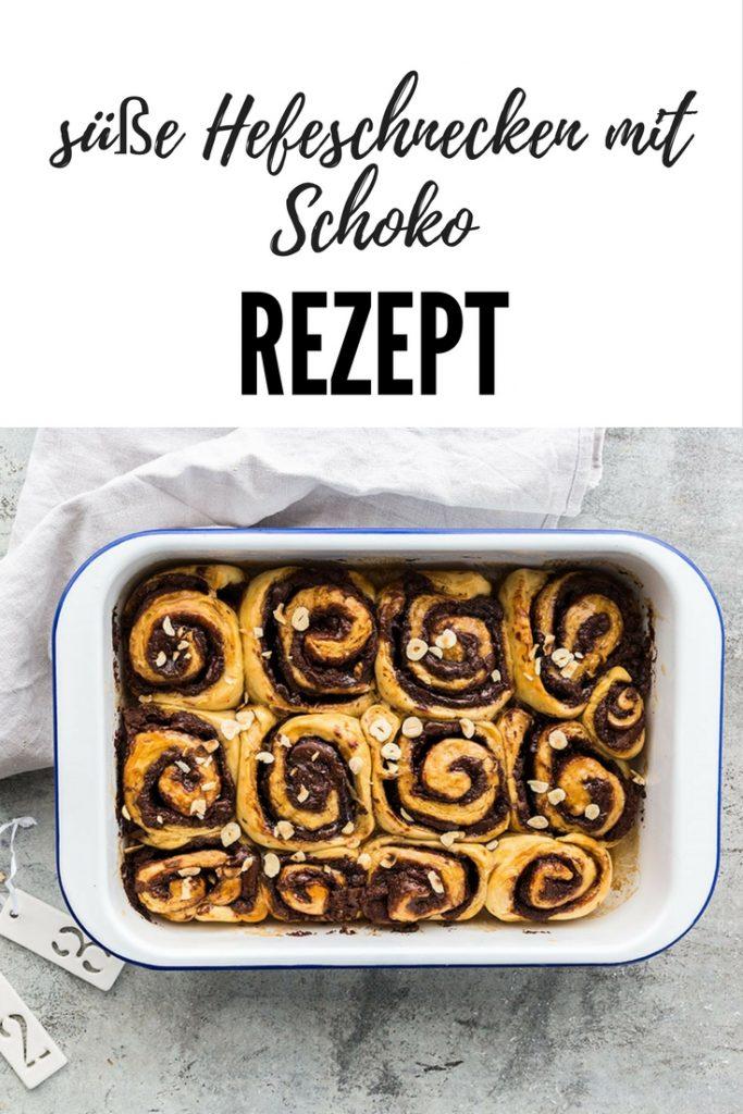 Rezept für süße Hefeschnecken mit Schoko. Auch für den Thermomix geeignet