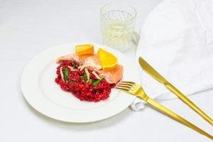 Rote Bete Risotto mit Lachs-Rezept für die Prep&Cook