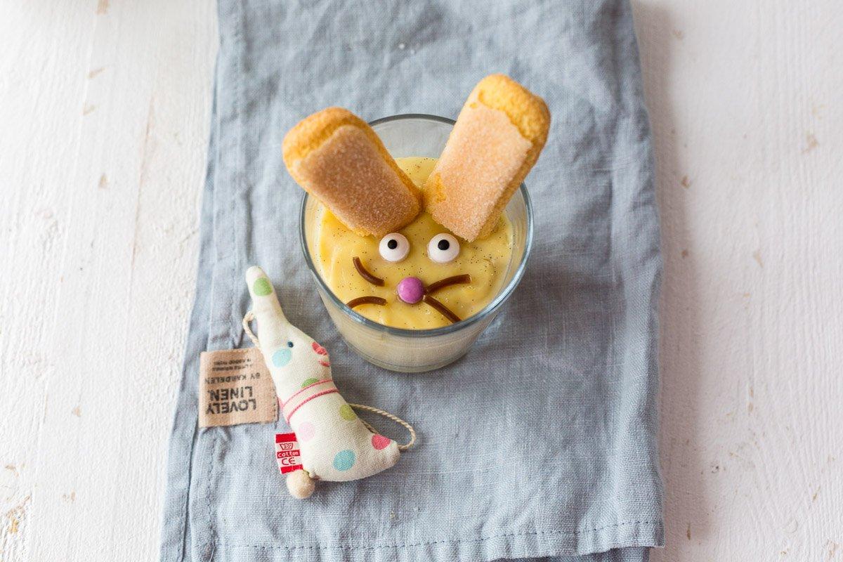 Schokopudding und Vanillepudding Hasen