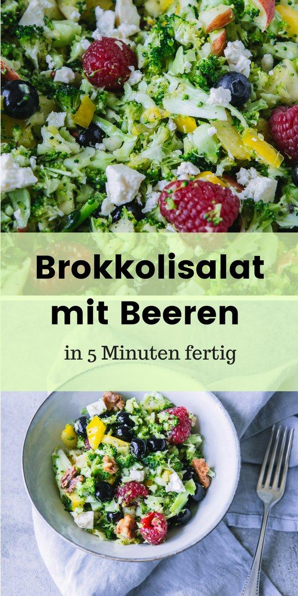 Dieses Rezept für einen sommerlichen Brokkolisalat könnt ihr mit dem Thermomix TM5 oder auch ganz herkömmlich zubereiten. Statt Pinienkernen werden karamellisierte Nüsse verwendet. außerdem sind jede Menge Beeren im Salat. Somit ist er eine wahre Vitaminbombe, die in weniger als 5 Minuten auf dem Tisch steht.