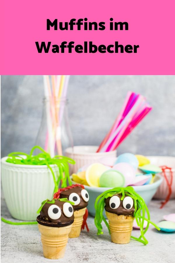 Muffins im Waffelbecher sind eine tolle Idee für den Kindergeburtstag. Schnelles und einfaches Rezept
