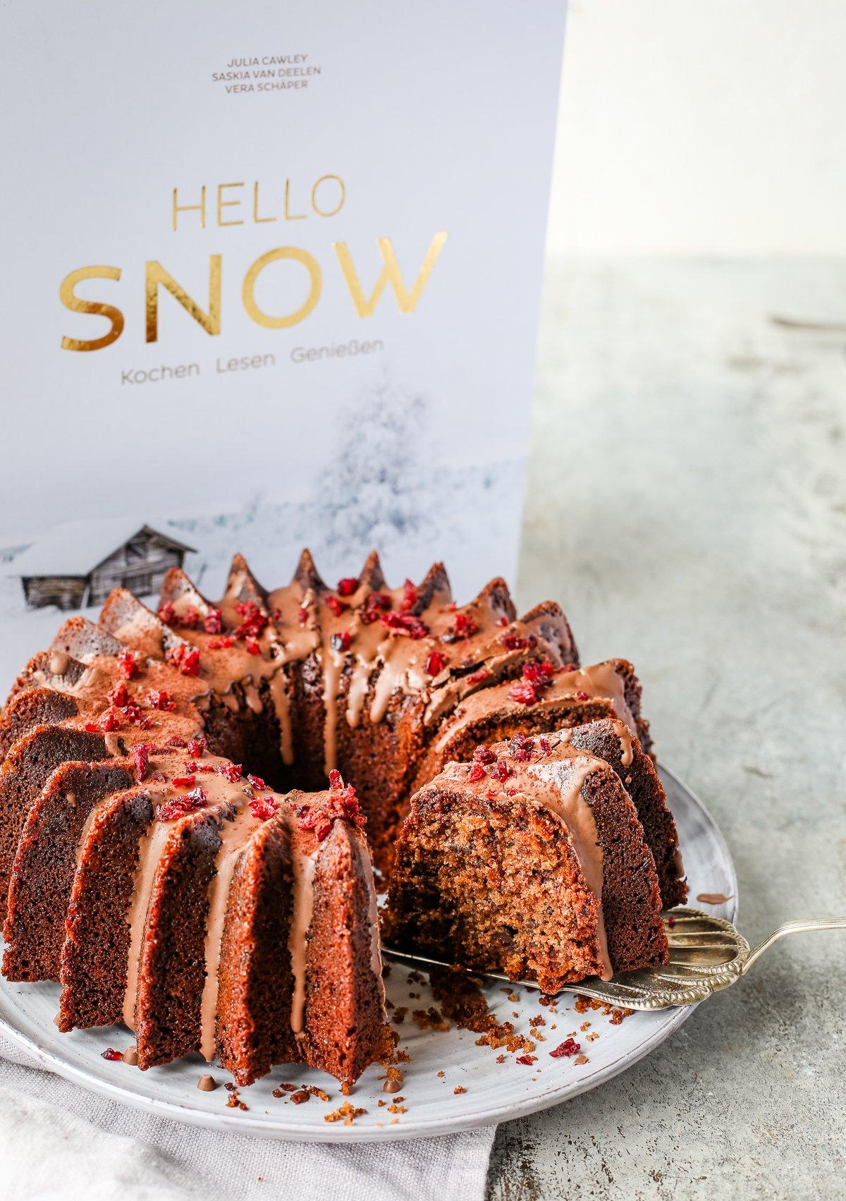 einfacher Schokoladenkuchen aus dem Kochbuch Hello Snow