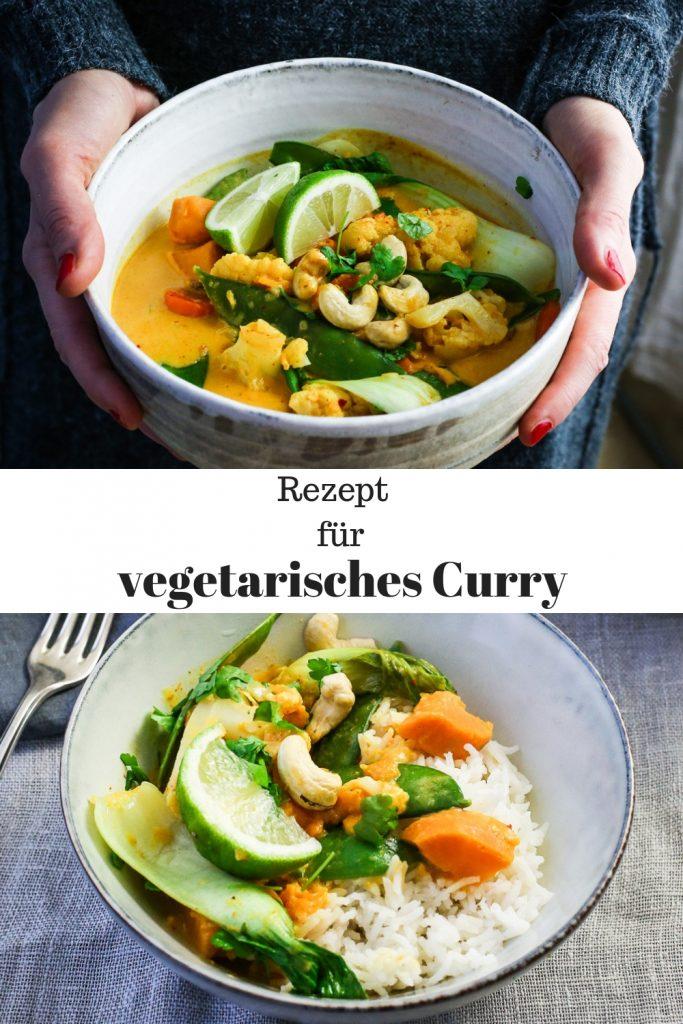 Einfaches Rezept für vegetarisches Curry mit Kokosmilch. Vegan