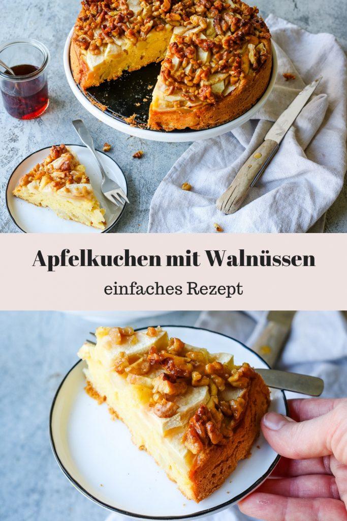Einfaches Rezept für einen saftigen Apfelkuchen mit Walnüssen