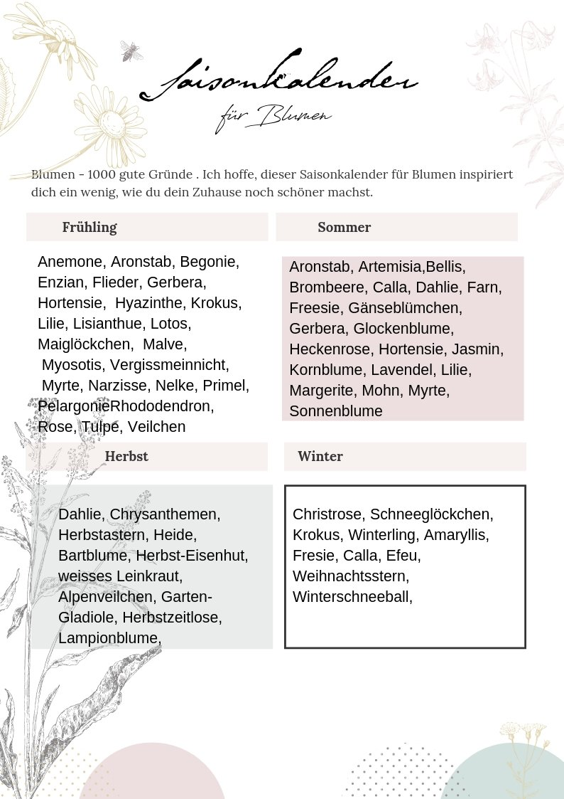 Saisonkalender Blumen