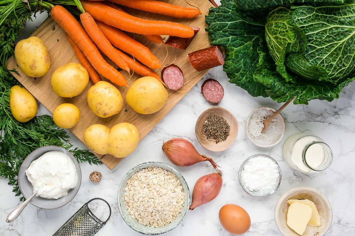 Zutaten Rahmwirsing mit Karotten-Kartoffel-Puffer
