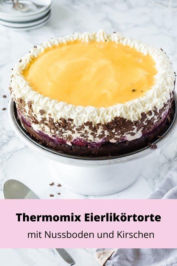 leckere Eierlikörtorte mit Nussboden und Kirschen für den Thermomix