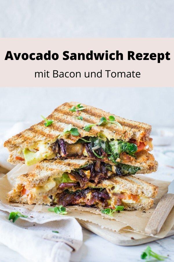 Rezept für Avocado Sandwich mit Bacon und Tomate. Super lecker und total einfach